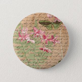 Vintage Orchideen-Farn-Collage Runder Button 5,1 Cm