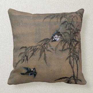 Vintage orientalische japanische Malerei von zwei Kissen