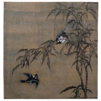 Vintage orientalische japanische Malerei von zwei Bedruckte Serviette