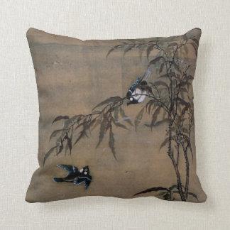 Vintage orientalische japanische Malerei von zwei Zierkissen