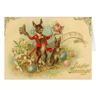 Vintage Osterhasen-Ostern-Karte Grußkarte