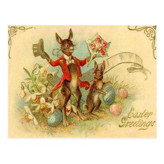 Vintage Osterhasen-Ostern-Karte Postkarte