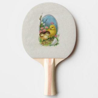 Vintage Ostern-Frühlings-Baby-Küken-Blumen Tischtennis Schläger
