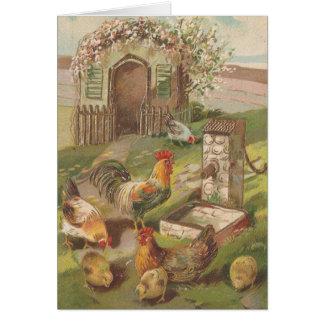 Vintage Ostern-Hühner Karte