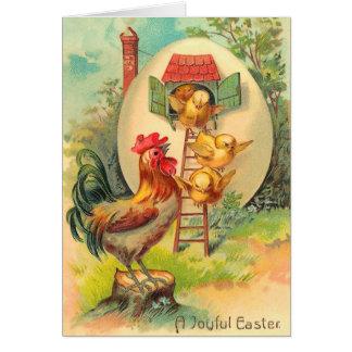 Vintage Ostern-Küken-Karte Grußkarte