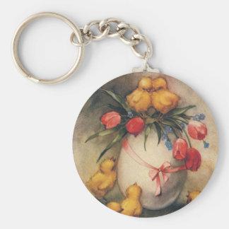 Vintage Ostern-Küken mit roten Tulpe-Blumen Schlüsselanhänger