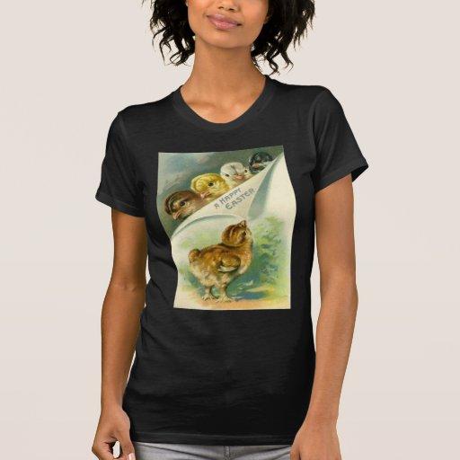 Vintage Ostern-Küken-Ostern-Karte Shirt