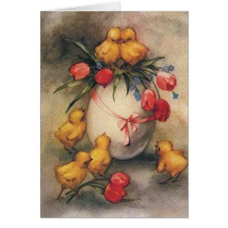 Vintage Ostern-Küken und viktorianische Tulpen Grußkarte
