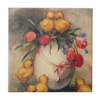 Vintage Ostern-Küken und viktorianische Tulpen Keramikfliese