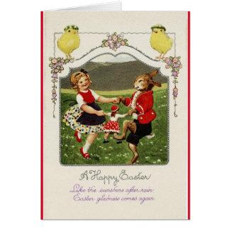 Vintage Ostern-Tänzer Karte