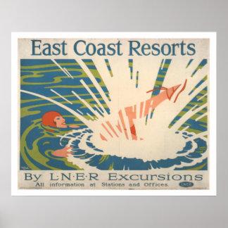 Vintage Ostküsten-Erholungsorte, die Reise Vacatio Poster