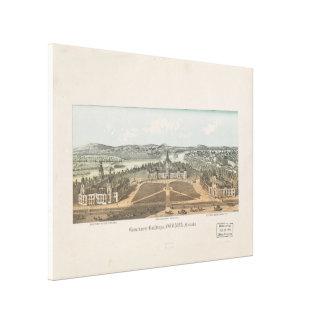 Vintage Ottawa-Regierungs-Gebäude-Karte (1865) Leinwanddruck