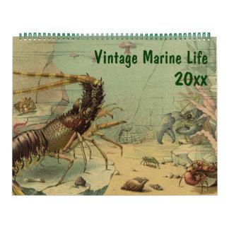 Vintage Ozean-Marinelebens-Tier-und Seegeschöpfe Abreißkalender