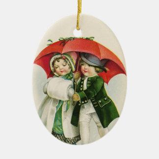 Vintage Paar-erstes Weihnachten Keramik Ornament