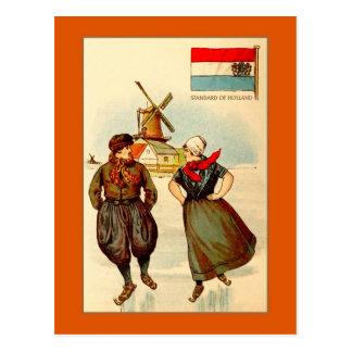 Vintage Paare gefrieren Skaten, Windmühle, Holland Postkarte
