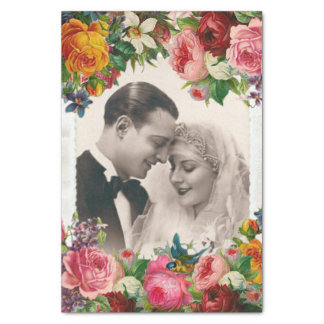 Vintage Paare in Liebe-Wedding Rosen-Seidenpapier Seidenpapier