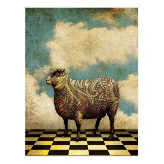 Vintage Paisley-Schafe in Brown Postkarte