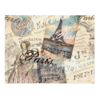 Vintage Paris decoupage Postkarte
