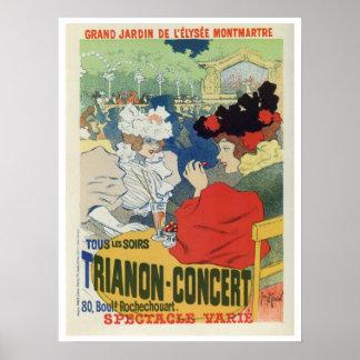 Vintage Paris-Garten Trianon Konzertanzeige Plakate