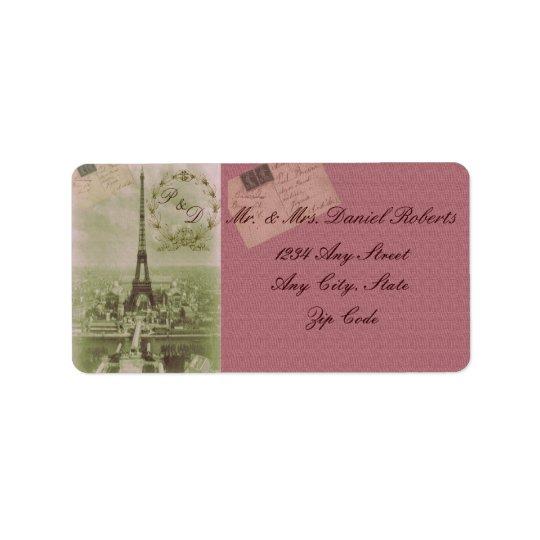 Vintage Paris-Hochzeit Adressaufkleber