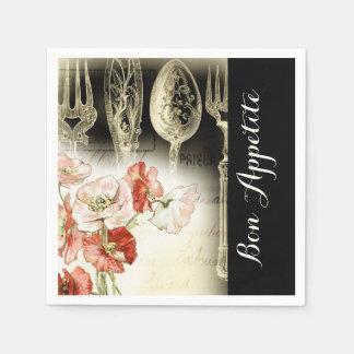 Vintage Paris-Tischbesteckmohnblumennarzisse Papierservietten