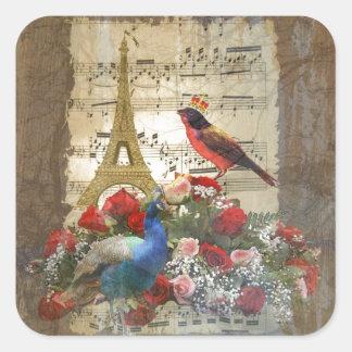 Vintage Paris- u. Vogelmusikblattcollage Quadratischer Aufkleber