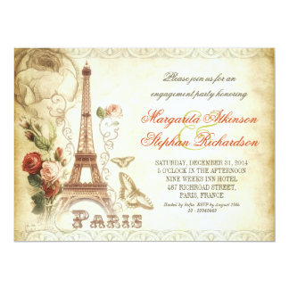 Vintage PARISchic-Verlobungs-Party Einladungen