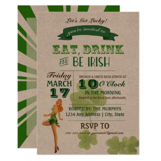 Vintage Party Einladung Pinup-St. Pattys Tages