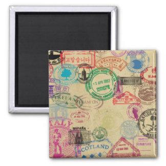 Vintage Pass-Briefmarken 2 Zoll-Quadrat-Magnet Quadratischer Magnet