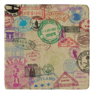 Vintage Pass-Briefmarken MarmorsteinTrivet Töpfeuntersetzer