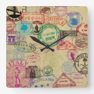 Vintage Pass-Briefmarken-quadratische Wand-Uhr Quadratische Wanduhr