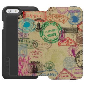 Vintage Pass-Briefmarken schwarzer iPhone Incipio Watson™ iPhone 6 Geldbörsen Hülle