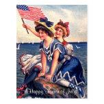 Vintage patriotische Schwimmer-Postkarte