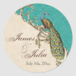Vintage Peacock & Etchings  Wedding Seal Sticker