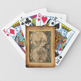 Vintage Pergament-alte Weltkarten-Spielkarten Bicycle Spielkarten