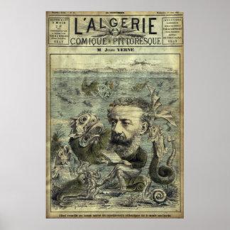 Vintage periodische Abdeckung Jules Verne Poster