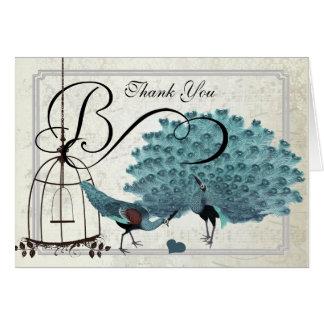 Vintage Pfau-Vogel-Käfig-Hochzeits-Einladungen Karte