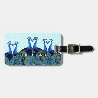 Vintage Pfaus, die Hochzeits-Geschenke küssen Gepäckanhänger