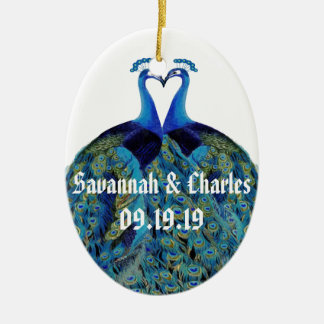Vintage Pfaus, die Hochzeits-Geschenke küssen Keramik Ornament