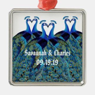 Vintage Pfaus, die Hochzeits-Geschenke küssen Silbernes Ornament