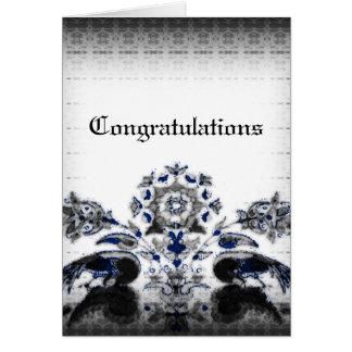 Vintage Pfaus u. blaue Goth mit Blumenhochzeit Grußkarte