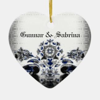 Vintage Pfaus u. blaue Goth mit Blumenhochzeit Keramik Ornament