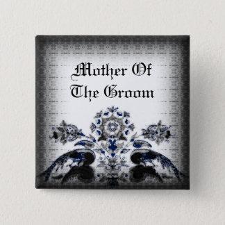 Vintage Pfaus u. blaue Goth mit Blumenhochzeit Quadratischer Button 5,1 Cm
