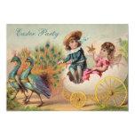 Vintage Pfaus u. Ei-Wagen-Ostern-Party Personalisierte Einladungskarte