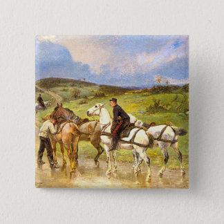 Vintage Pferdekunst: Ändernde Pferde Quadratischer Button 5,1 Cm