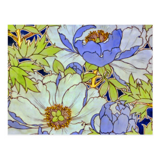 Vintage Pfingstrosen-Blumen-Muster-Postkarte