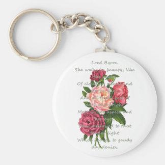Vintage Pfingstrosen-Blumen romantisches Byron Schlüsselanhänger