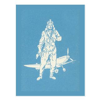 Vintage Pilot-und Flugzeug-Kunst Postkarten