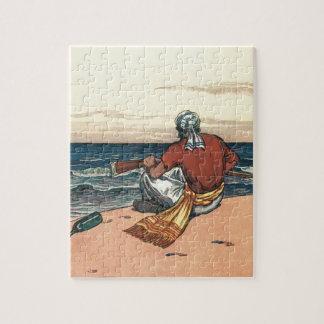 Vintage Piraten, ausgesetzt auf einer verlassenen Puzzle