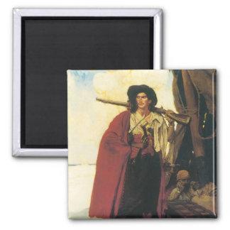 Vintage Piraten Buccaneer waren ein malerischer Quadratischer Magnet